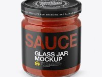 Glass Jar with Tomato Sauce Mockup - Front View (High Angle Shot)