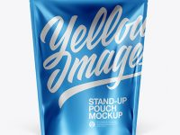 Matte Metallic Stand-Up Pouch Mockup