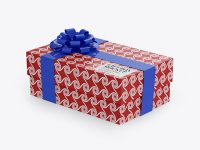 Glossy Gift Box Mockup - Half Side View