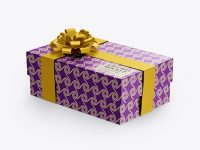 Metallic Gift Box Mockup - Half Side View