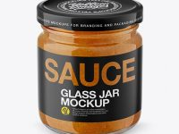 Glass Jar with Curry Sauce Mockup - Front View (High Angle Shot)