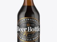 330ml Amber Glass Stout Beer Bottle Mockup