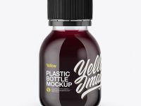 60ml Plastic Bottle with Berries Soft Drink Mockup