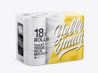 18x Toilet Tissue Pack Mockup - Half Side View