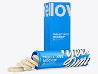Opened Tablets Tube & Paper Box Mockup - Half Side View