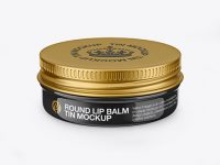 Glossy Lip Balm Tin Mockup - Front View (High-Angle Shot)