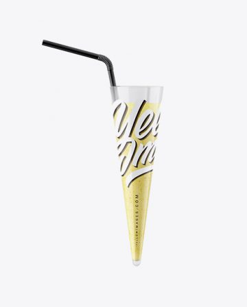 Plastic Cup w/ Banana Smoothie and Straw Mockup