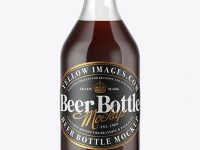 330ml Clear Glass Brown Ale Bottle Mockup