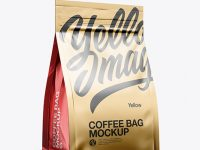 Metallic Coffee Bag Mockup - Half Side View
