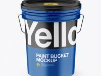 Matte Plastic Paint Bucket Mockup (High-Angle Shot)