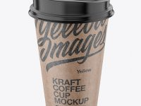 Kraft Coffee Cup Mockup – Front View (High Angle Shot)