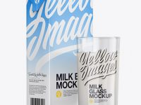 1L Milk Carton Pack With Glass Mockup - Halfside View