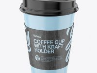 Coffee Cup With Kraft Holder – Front View (High Angle Shot)