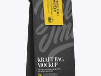 Kraft Paper Bag W/ Label Mockup - Half Side View