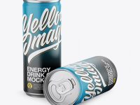 Two Matte Aluminium Cans Mockup