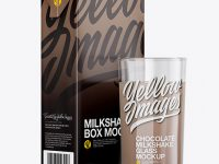 1L Carton Pack With Chocolate Milkshake Glass Mockup - Halfside View