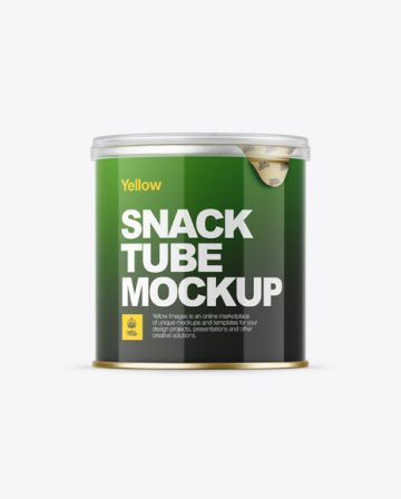 Small Glossy Snack Tube Mockup - Front View