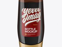 Amber Plastic Bottle Mockup - Front View (High-Angle Shot)