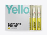 Clear Glass Ampoules Pack Mockup - Front View