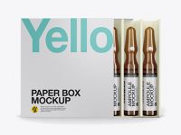 Amber Glass Ampoules Pack Mockup - Front View