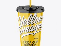 Glossy Soda Cup Mockup - High Angle Shot