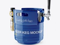 Glossy Beer Keg Mockup - Half Side View