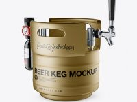 Matte Metallic Beer Keg Mockup - Half Side View