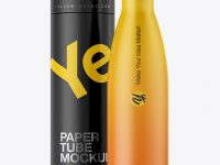 500ml Matte Bottle with Paper Tube Mockup