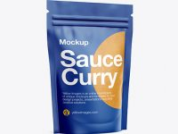 Matte Transparent Stand-Up Pouch W/ Curry Sauce Mockup - Half Side View
