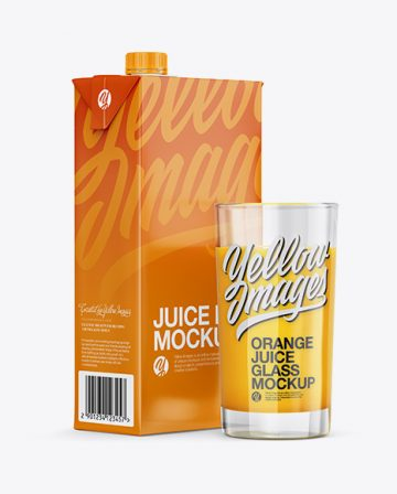 1L Carton Pack With Orange Juice Glass Mockup - Halfside View