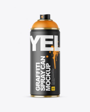 Matte Spray Can Without Cap Mockup - Front View