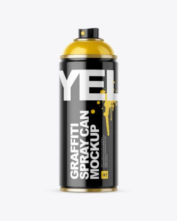 Glossy Spray Can Without Cap Mockup - Front View