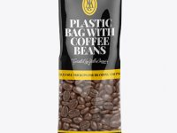 Clear Bag With Coffee Beans Mockup - Front View