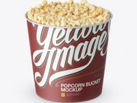 Large Matt Popcorn Bucket Mockup (High-Angle Shot)
