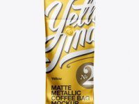 Matte Metallic Coffee Bag w/ Valve Mockup - Front View