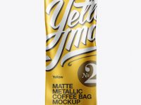 Matte Metallic Coffee Bag Mockup - Front View
