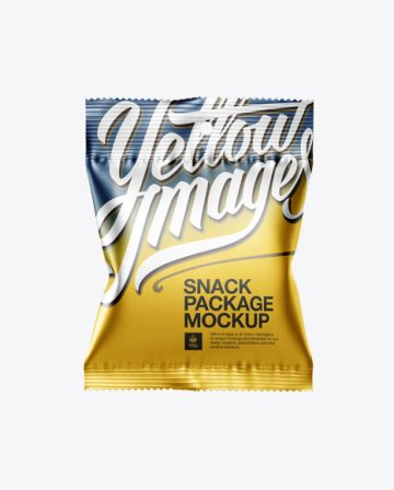 Matte Metallic Snack Package Mockup - Front View