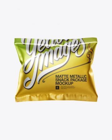Square Metallic Snack Package Mockup - Front View