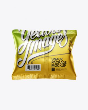 Square Metallic Snack Package Mockup - Back View