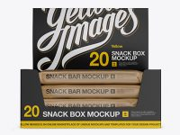 20 Kraft Snack Bars Display Box Mockup - Front View