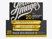 20 Metallic Snack Bars Display Box Mockup - Front View
