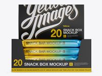20 Matte Metallic Snack Bars Display Box Mockup - Front View