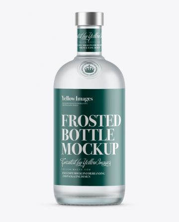 700ml Frosted Glass White Rum Bottle Mockup