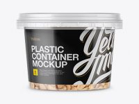 Plastic Container w/ Peanuts Mockup - Front View