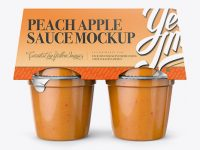 Peach Apple Sauce 4-6 Oz. Cups Mockup - Front View