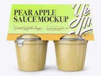 Pear Apple Sauce 4-6 Oz. Cups Mockup - Front View