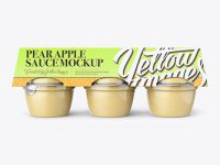 Pear Apple Sauce 6-4 Oz. Cups Mockup - Front View