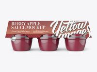 Berry Apple Sauce 6-4 Oz. Cups Mockup - Front View