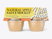 Natural Apple Sauce 4-4 Oz. Cups Mockup - Front View