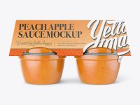 Peach Apple Sauce 4-4 Oz. Cups Mockup - Front View